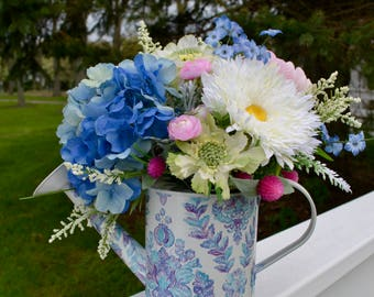 Watering Can Silk Floral Arrangement, Blue Hydrangea, White Mums, Pansies, in Watering Can, Summer Flowers, Faux Flowers, Silk Flower