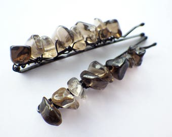 Smoky Quartz- Crystal Magic- Black Hair- Beaded Bobby Pins- Hair Style- Fall Fashion Accessory- Unique Gift for Her- Women- Teen Girls