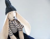 Rabbit Fabric Toy Handmade Large Boy Doll Bunny Childs Easter Gift  Dressed in Blue Ticking Jeans and Charcoal Wool Hat Gift Bag UK Shops