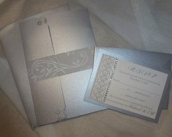 "Silver pocket fold Wedding Invitation ( sample ) - ""Silver Love"""