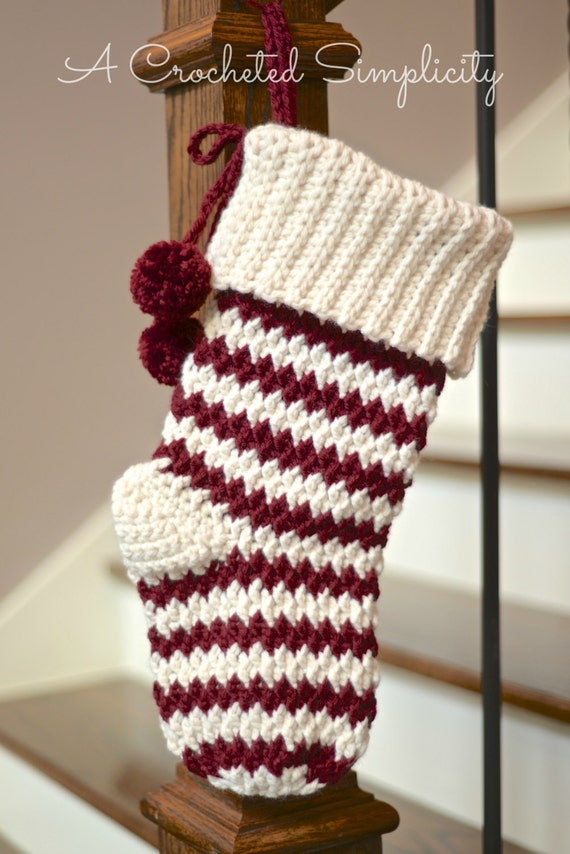 Plain Christmas Stocking Knitting Pattern : Crochet Pattern: Jolly Textures Christmas Stockings