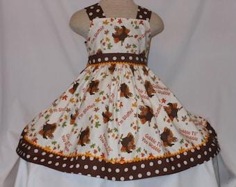 Thanksgiving Day Dress, Turkey Gobble til you Wobble Dress, Custom Boutique Dress, Holiday Dress, Birthday Turkey Dress Thanksgiving Dress