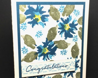 Congratulations Greeting Card, Blue and Green Floral Congratulations Card, Handstamped