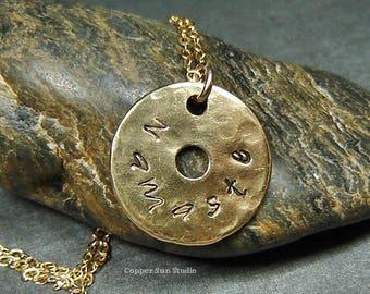 Sanskrit Yoga Necklace in Gold, Namaste Stamp Jewelry