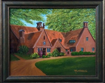 "Headmaster's Residence, Avon Old Farms School, Framed, Original oil,  16""x20"""