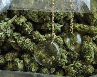420 SALE! Real Marijuana Necklace Jewelry Seeds Stems Weed Mary Jane pendant gold chain marijuana cannabis hemp seeds