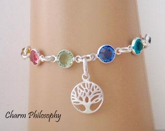 Family Tree Birthstone Bracelet - Swarovski Birthstone Anklet - 925 Sterling Silver - Family Jewelry