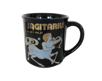 Vintage Sagittarius Mug, 1970's Zodiac Sign, Astrology Mug, Coffee Cup, Gift for December, Sagittarius Birthday, Mid Century, 1970's Decor