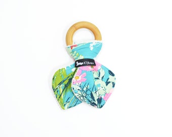 Colorful Floral Wooden Teething Ring | Blue Floral Teether | Colorful Baby Teether | Organic Bunny Teether | Colorful Baby Shower Gift