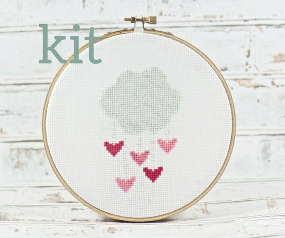 Pink hearts cross stitch kit love embroidery design art valentines pink hearts cross stitch kit love embroidery design art valentines day cloud mobile diy crafts do it yourself kit i love you nursery room from solutioingenieria Gallery