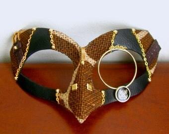 Steampunk Mask, Giraffe Print, Leather Mask, Gold Monocle - Janus KillJoy