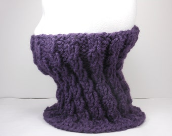 Purple Neck Warmer - Adult Hand Knit Acrylic Wool Gaiter