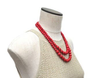 red necklace / red beaded necklace / red statement necklace / red bridesmaid necklace / red jewelry / 2 strand necklace