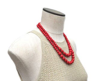 red bead necklace / red necklace /  red statement necklace / red bridesmaid necklace / red beaded necklace / two strand necklace / 2 strand