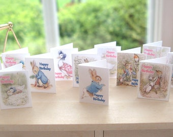 dollhouse beatrix potter birthday cards x 12 peter rabbit and jemima 12th scale miniature