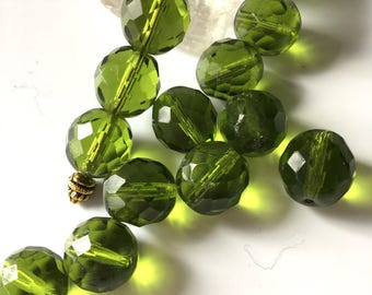 Czech Glass Bead 12 mm fire Polish Faceted Olive Green Bead 15 pieces.