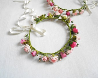 Simple Flower Girl Wreath / Blush Pink Floral Hair Wreath / Faux Flower Crown / Headband of Blooms / Handmade Hair Accessory