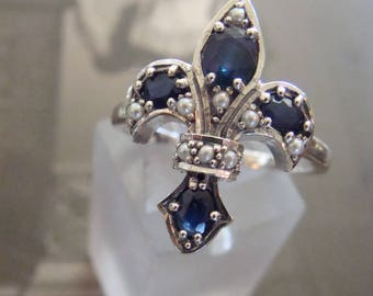 Classic Sterling Natural Sapphire & Seed Pearl Fleur De Lis Ring Size 8.5