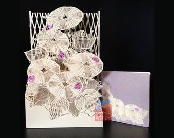 3D laser cut morning glory greeting card* Beautiful details* Top quantity* All occasions * Birthday card* getting well card* Thank you card*