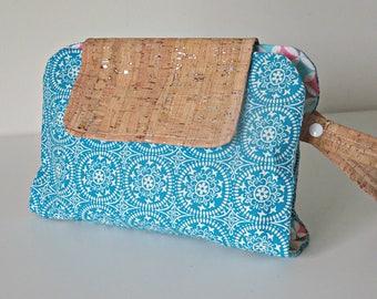 Cork fabric aqua blue retro style print fabric nappy clutch. nappy wallet. diaper clutch. diaper wallet. diaper bag.