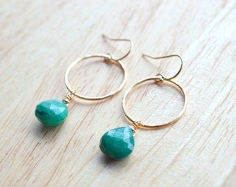 EMERALD Gemstone Earrings- Hand Wire Wrapped Earrings in 14k Gold Fill- May Birthstone