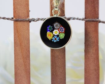 14mm Murano Millefiori Lampwork Glass Pendant 24K Gold Plated Sterling Silver Black Flowers G1