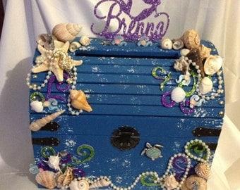 Treasure chest card box, under the sea card box