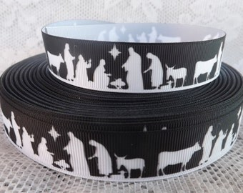 Nativity ribbon 7/8 inch nativity scene ribbon creche ribbon baby Jesus