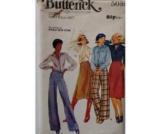 "UNCUT Butterick 5088 Rena Rownan Jones of New York 70's Wardrobe Bow Blouse Shirt Wrap Skirt Scarf Trouser Pant Pattern Size Medium Bust 34"""