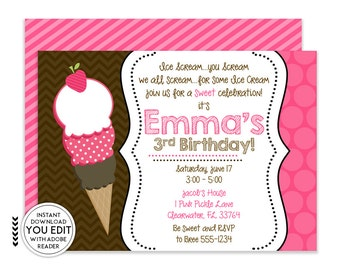 Ice Cream Party Invitation Ice Cream Birthday Invitation