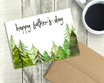 Printable Father's Day Card, Happy Father's Day, Watercolor Trees, PDF Instant Download, 5x7 Greeting, Dad, Brother, Husband, Son, Grandpa
