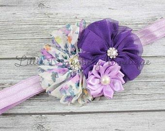 Purple floral cluster headband {lavender headband, purple headband, baby headband}