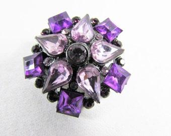Purple Star Flower Brooch Rhinestones