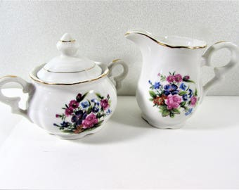Sterling China Creamer and Sugar Set Pink Blue Flowers Japan
