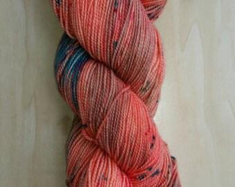 OOAK Salmon Speckles Twisty Sock