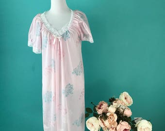 Vintage Pink Floral with White Lace Nightgown Dress