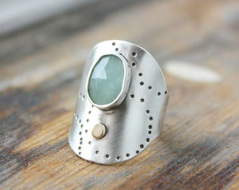 Aquamarine Silver Saddle Ring, 14k accent shield ring, statement ring,gemstone recycled silver, adjustable ring, handmade statement ring