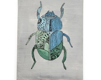 BEETLE, Wall Art, Painting, Hand painting, Wall Hanging, Decor,  Nursery Decor