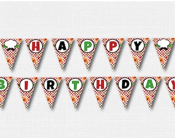 Pizza Happy Birthday Banner - Pizza Themed Party Banner - Happy Birthday Bunting - Pizza Party - Italian Party - INSTANT DOWNLOAD
