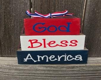 God bless America Mini wood blocks--4th of July wood blocks