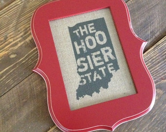 The Hoosier State, Indiana - Burlap in 5in x 7in Frame, Red