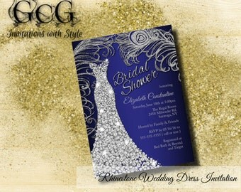 Wedding Dress Bridal Shower Invitation, Wedding Shower Invitation Bridal gown invitation  Bridal Shower invitations Navy & Silver Rhinestone