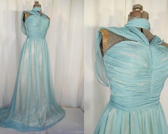Vintage 1940s Dress - Hollywood Small Formal Silk 40s Gown