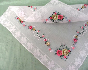 Embroidered floral handkerchief / petit point needlepoint hankie