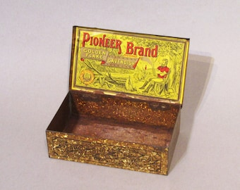 """Antique Tobacco Tin - Pioneer Brand """"Golden Flake"""" Richmond Cavendish - early 1900's"""