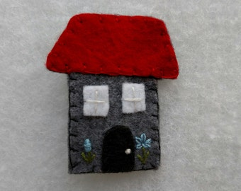 Gray and Red House Hand Sewn Felt Brooch Pin