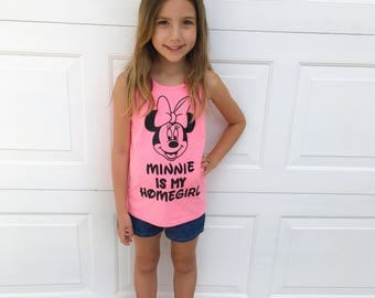 The Original Minnie Is My Homegirl Pink Tank tops tees Girls Kids Tees T Shirts