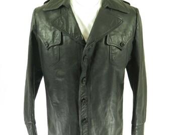 Vintage 70s Leather Jacket Mens 46 Black Pecuer Argentina Napa Calf [H55Y_3-8_Leather]