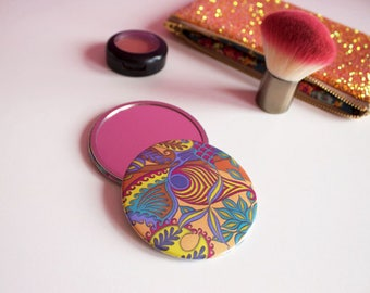 Tropical Patterned Colourful Compact Mirror, Girly Pocket Mirror,