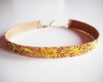 Burnt Orange Glitter Choker, Sparkly Orange Choker, Burnt Orange Glitter Necklace, Boho Jewellery, Party Jewellery, Sparkly Necklace,